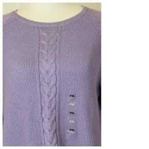 Karen Scott Sweaters - Karen Scott Petite Crew Neck Cable Knit Sweater
